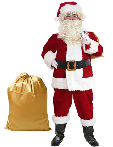 4. ADOMI 10pc. Santa Suit Plush Adult Costume - Preferred