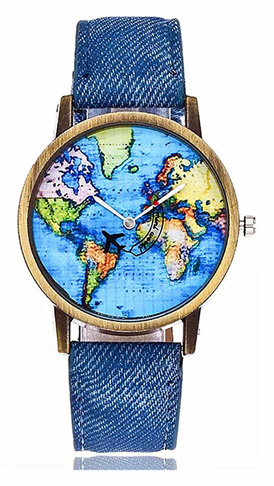 5. MINILUJIA Airplane Moving World Map Watch