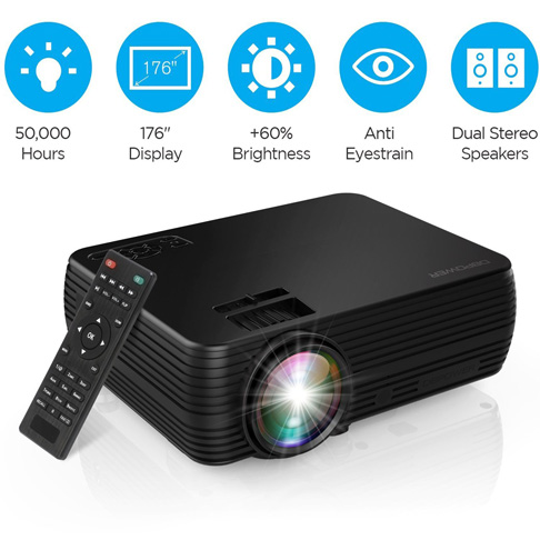 7. DBPOWER X5 Mini Movie Projector