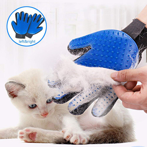 7. SSRIVER Pet Grooming Glove (Blue, 1 Pair) - Preferred