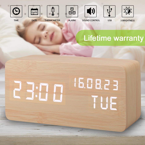 9. A&L Wood Alarm Clock