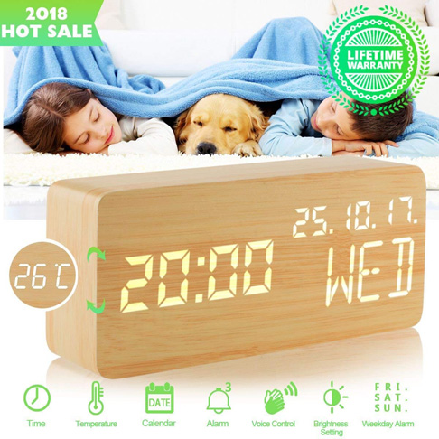 10. Luckymore Wood Alarm Clock