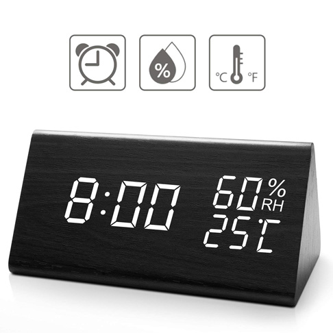 7. Idealin Wooden Alarm Clock