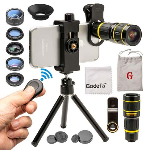 5. Godefa Cell Phone Camera Lens with Tripod+ Shutter Remote