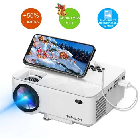 9. T TOPVISION Mini Projector with Synchronize Smart Phone Screen