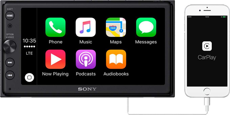 "3. Sony XAV-AX100 6.4"" Car Play/Android Auto Receiver"