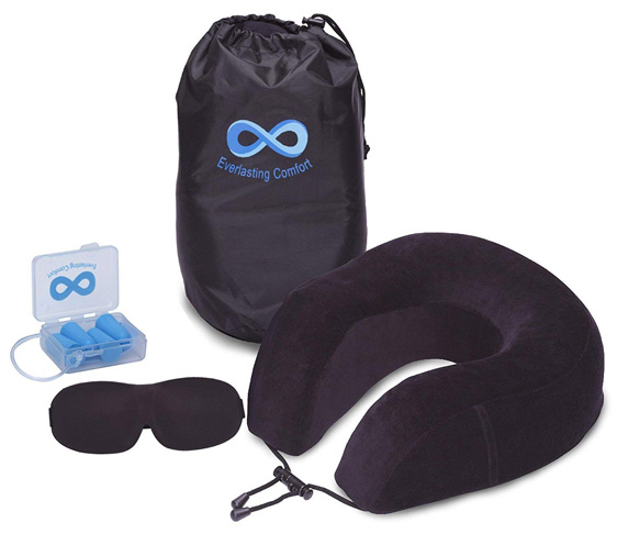 6. Everlasting Comfort Neck Pillow Airplane Travel Kit - Preferred