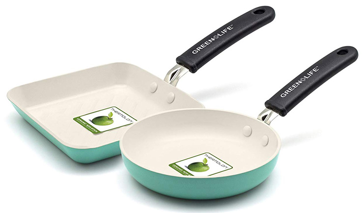 8. GreenLife Square Grill Pan and Round Egg Pan Set, Turquoise