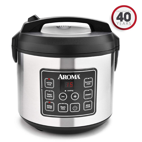 2. Aroma Housewares 20 Cup Cooked Digital Rice Cooker (ARC-150SB) - Preferred