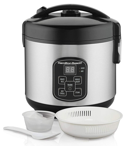 10. Hamilton Beach (37518) Rice Cooker with Steam & Rinse Basket