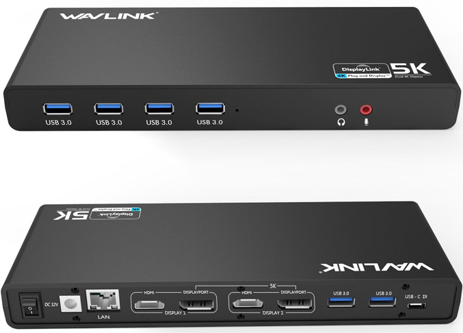 8. WAVLINK USB C, Type-A 4K Laptop Docking Station
