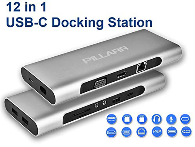 3. Pillarr USB-C Docking Station with Charging Laptop