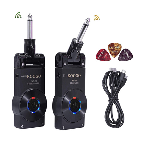 7. Koogo Guitar Wireless System Transmitter Receiver (Full Black) - Preferred