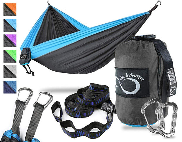 3. Live Infinitely 2 Person Camping Hammock Set