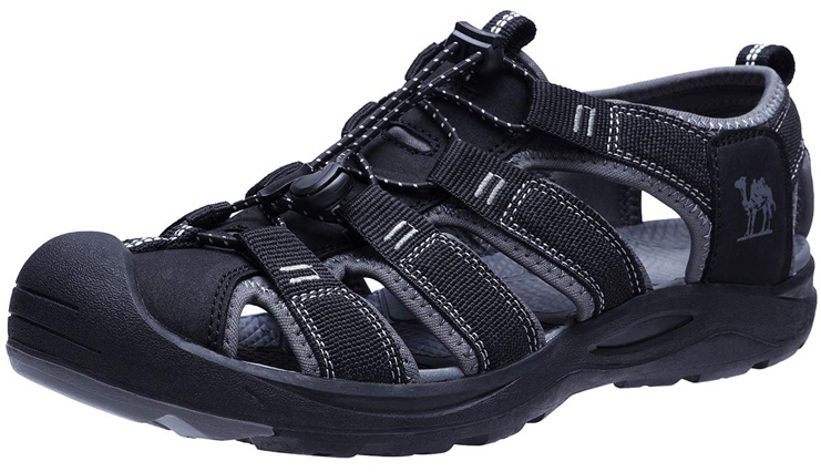 7. CAMEL CROWN Men's Waterproof Hiking Sandals (Black) - Preferred