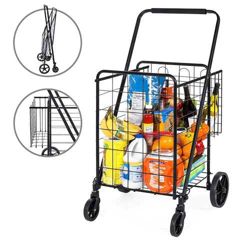 10. Best Choice Products Folding Cart Dolly for Shopping -Preferred