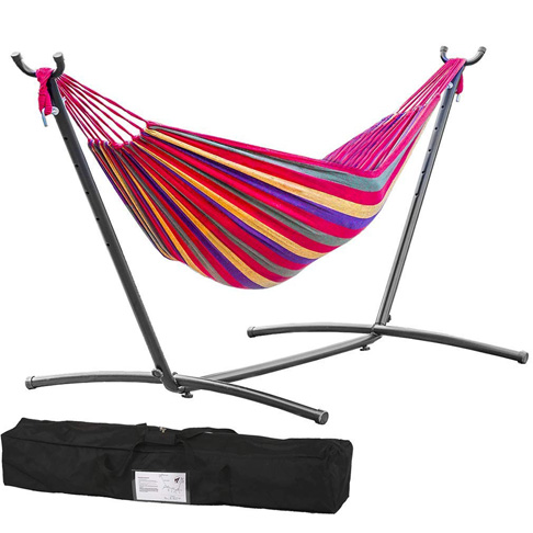 9. TechFaith Two Person Adjustable Hammock Bed with Space Saving Steel Stand