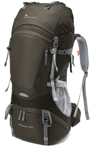 6. MOUNTAINTOP Internal Frame Hiking Backpack with Rain Cover (50L/55L/60L/65L)