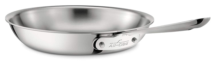 4. All-Clad 4110 Stainless Steel Tri-Ply Bonded Stainless Steel Fry Pan - Preferred