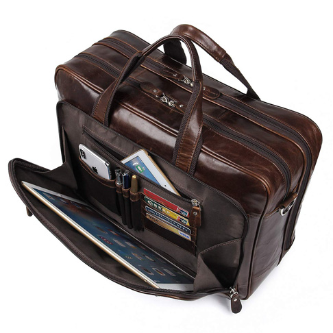 7. Augus Leather Briefcases for Men 17 Inch Laptop Bag