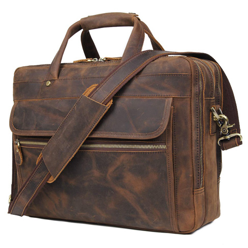 10. Augus 15.6-Inch Laptop Leather Briefcase for Men - Preferred