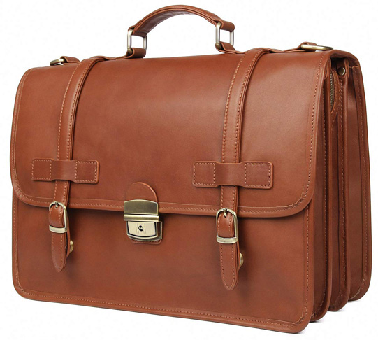 9. Augus Genuine Leather Briefcase Messenger for Men