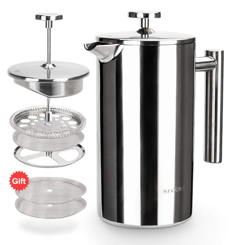 1. Secura 1000ML Stainless Steel French Press Coffee Maker - Preferred