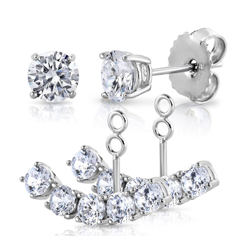 5. Unique Royal Jewelry 2 in 1 Cubic Zirconia Cuff Earrings Set