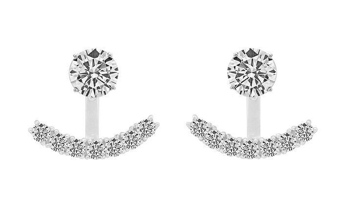 4. NYC Sterling Cubic Zirconia Cuff Front Back Earrings Set