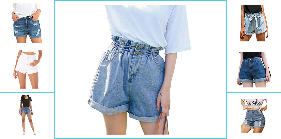 GRAPENT Womens High Waist Jean Short Casual Ripped Folded Hem Denim Jeans Shorts