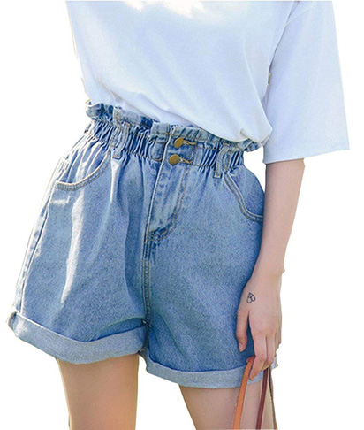 1. Plaid&Plain Women's High Waisted Denim Shorts