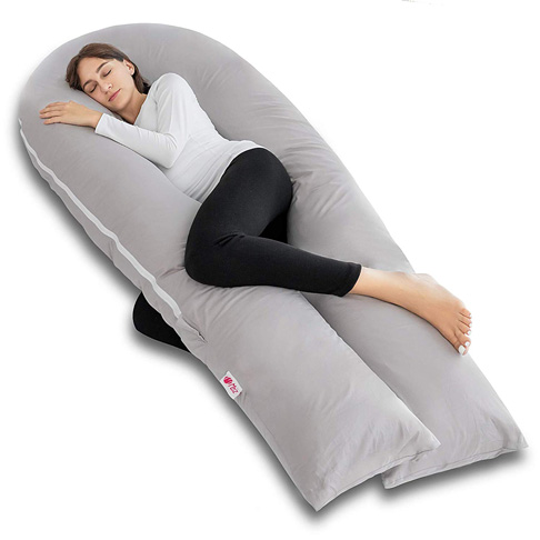 4. Meiz Full Body Pregnancy Pillow with Pillowcase and Cover - Preferred