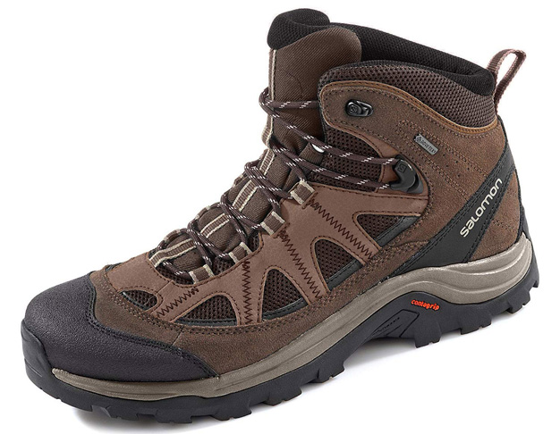 10. Salomon Men's Authentic Leather & GORE-TEX Backpacking Boots