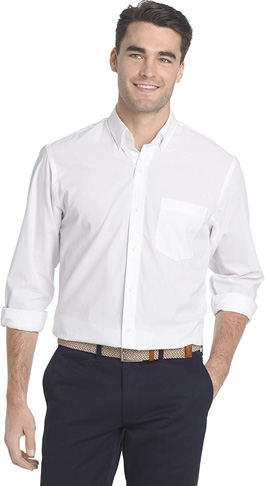 4. IZOD Men's Button Down Stretch Performance Solid Shirt