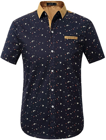 1. SSLR Men's Printed Button Down Cotton Shirts