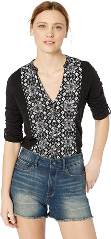 10. Lucky Brand Women's Printed Bib Button Down Top