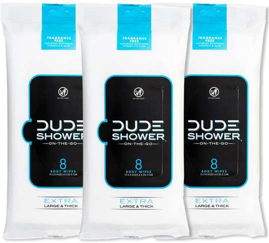 3. DUDE Shower Body Wipes -Preferred