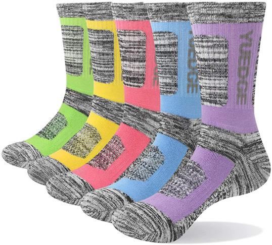 6. YUEDGE 5 Pairs Multi Performance Women's Walking Hiking Socks - Preferred