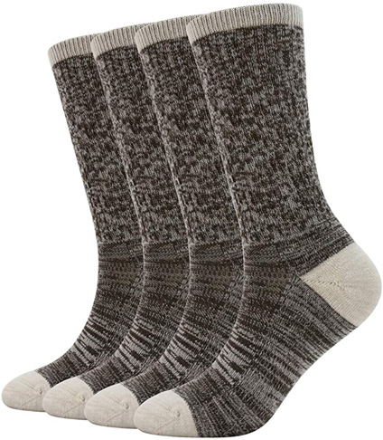 7. Enerwear-Coolmax Women's Crew Sock (4 Pack) – Cream/Brown Stripe