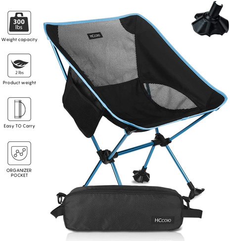 9. HCcolo Lightweight Compact Folding Camping Backpack Chairs
