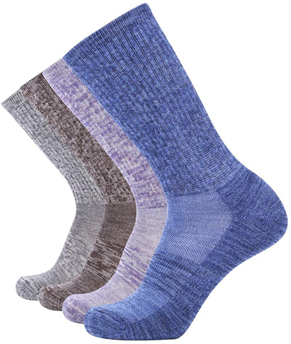 4. Enerwear-Coolmax Women's 4 Pack Trail Crew Sock (Light Grey/Blue/Multi) - Preferred