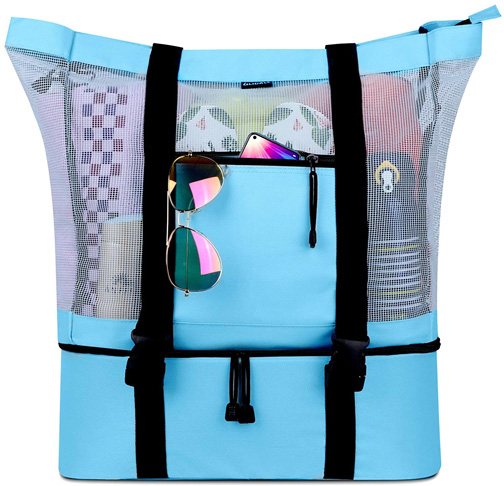 10 FITFORT Mesh Beach Tote Bag with Detachable Beach Cooler