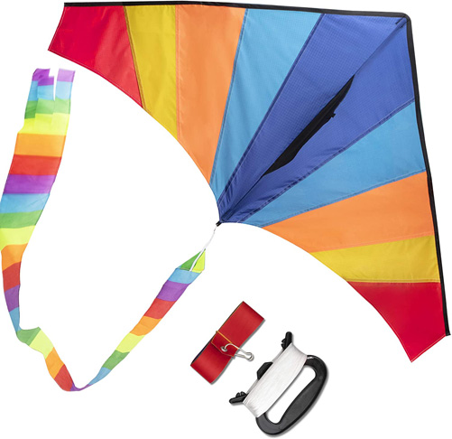 9. WISESTAR Large Delta Rainbow Kite for Kids and Adults