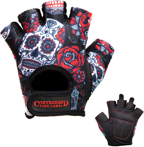 9. Contraband Pink Label 5237 Womens Design Sugar Skull Lifting Gloves (Pair) - Preferred