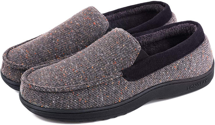 3. LongBay Men's Comfy Moccasin Slippers House Shoes