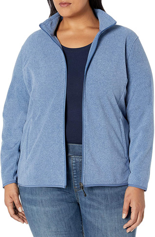6. Amazon Essentials Women's Plus Size Full-Zip Jacket - Preferred