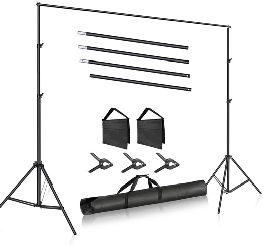 9. Neewer Photo Studio Backdrop Support System with 3 Backdrop Clamps