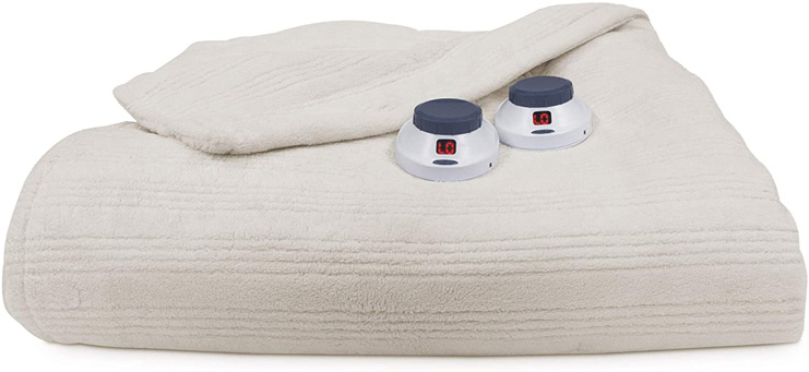3. SoftHeat by Perfect Fit Warming Electric Blanket, Natural