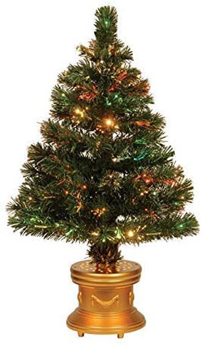 5. National Tree Celebrations 36-Inch LED Fiber Optic Christmas Tree
