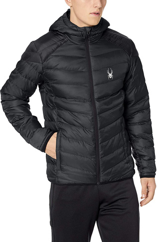 4. Spyder mens Black Geared Hoody Synthetic Down Jacket -Preferred